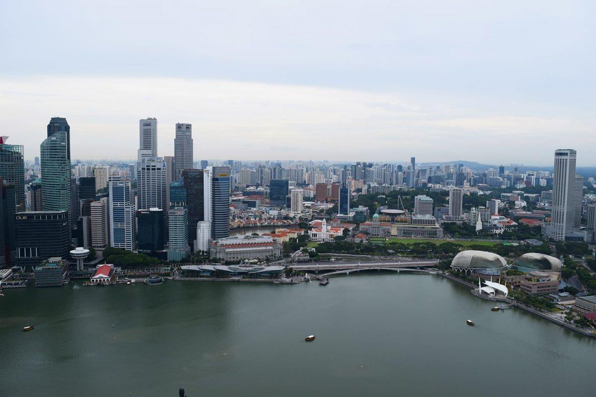vistas de Singapur desde el club lounge del hotel Marina Bay Sands