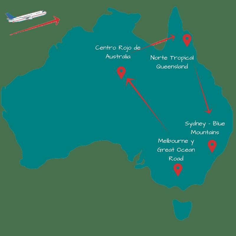 Ruta de 15 días por Australia. Itinerario 1